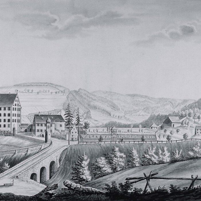 Lavierte Federzeichnung von R. Wiedmann, 1824