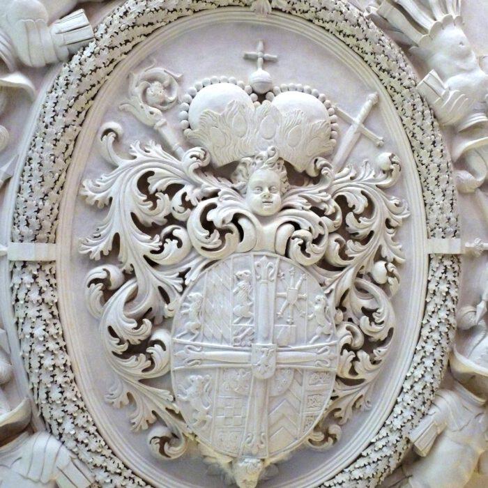 Wappen des Hochmeisters von Franz Ludwig von Pfalz-Neuburg im Achberger Rittersaal