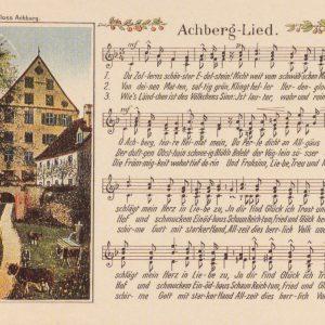 Ansicht der Postkarte mit dem Achbgerlied